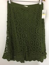 Macys John Paul Richard Green Crochet Knit Lace Boho Midi Swing Skirt Size M New