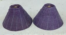 Pair Vintage Purple Amethyst Glass Beaded Bead Accent Lighting Lamp Light Shade