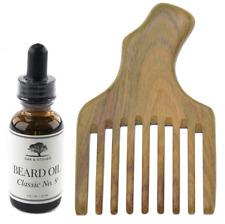 Handmade Wide Tooth Wooden Beard Comb & Beard Oil Combo