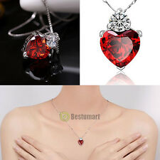 "18"" 925 Sterling Silver Red Garnet Heart Crystal Pendant Necklace Gift Box B6"