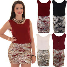 Ladies Low V Back Chiffon Lined Sequin Skirt Smart Mini Bodycon Evening Dress