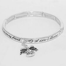 Sister Bracelet Sisters Blessing Friends Forever SILVER Message Stretch Bangle