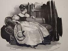 Litho DEVERIA ROMANTISME LE MAL du PAYS FEMME MODE RESTAURATION COIFFURE 1820