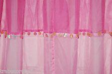2 Pretty Retro Jazzy Sequin Trim Long Sheer Long Panels/Curtain/Hot Pink 57 X 84
