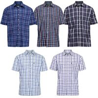 Mens Designer Short Sleeve Shirt Checked Classic Collared Casual Formal Shirts