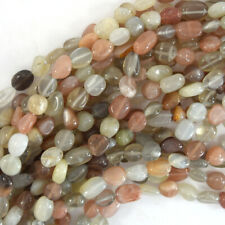 """6mm - 8mm natural multicolor moonstone pebble nugget beads 15.5"""" strand"""
