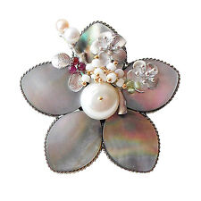 Wholesale Lot 5PC Handmade Mother of Pearl Flower Antique Brooch Pendant Gray