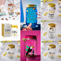 Travel Dreams Mr & Mrs Glass Saving Jar Adventure Fund Piggy Bank Money Boxes