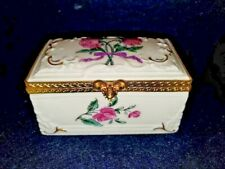 New ListingVintage Limoges Porcelain Hand Painted Flowers Gold Accents Trinket Box Hinged