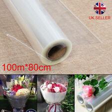 New UK 100mX80cm Wide Plain Clear Florist Craft Cellophane Roll Film Wrap Hamper