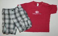 AMY COE boys Black White PLAID CARGO SHORTS + BABYSURF Shirt OUTFIT* 6 9 months