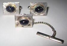 Vintage Sterling Silver & Blue Gold Stone Cufflink & Tie Tack Set