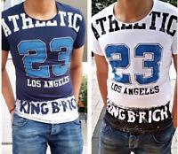 Oversize T-Shirt Weiß Blau Herren Kingz Design Tee Long LA Fashion Neu S-XL