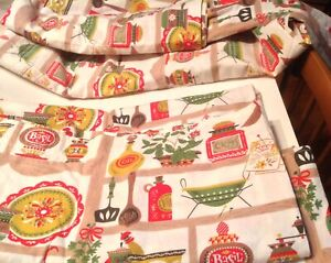 Vintage 50s MCM Retro Kitchen Red Curtains Fabric 4 Panel Utensils Spices Flower