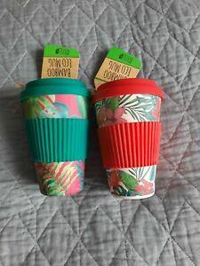 Travel Mug Bamboo Eco Coffee Tea Set Of Two Green Red, Summer