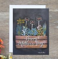 handmade Mother's day card hand drawn with herbplant pots free next day shipping