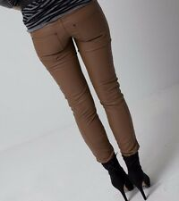 Brown Leather Look Soft Skinny Elegant Casual Pockets Pants Trousers Winter S