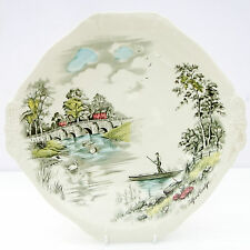 Vintage Alfred Meakin English Bridges Ironstone Cake Plate Tilford Bridge