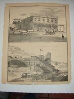 Original 1873 Print Mahanoy City, Pa Girardville, Pa - Schuylkill County, Pa