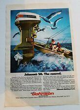 Vintage Johnson Seahorse 50 Outboard Motor Print Ad