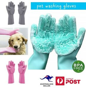 2 Pairs Silicone Reusable Dog Washing Bathing Pet Grooming Message Gloves