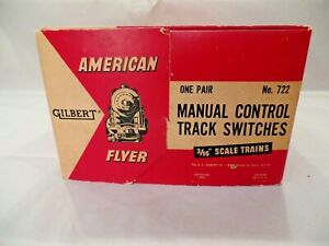 Pair of Gilbert American Flyer S Gauge #722 Manual Control Track Switches in OB