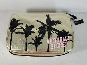 NWT Victoria's Secret Toiletry Cosmetic Travel Bag Gold with Palm Trees