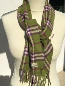 """Superbe et authentique foulard écharpe """"BURBERRY"""" verte laine + cachemire scarf"""