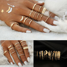 12pcs Bohemian Vintage Women Gold Crystal Midi Finger Rings Punk Knuckle Ring  #