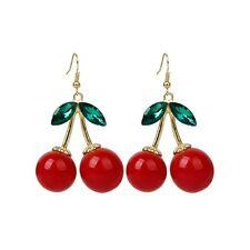 1 Pair Women Fashion Cherry Drop Dangles Rhinestone Ear Studs Earrings BT