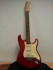 A Stagg Trans Red Strat Copy With RItter Bag Electric Guitar #285
