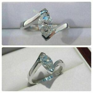 Certified 1.25CT Round Cut Diamond 14K Gold Solitaire Bypass Shank Wedding Ring
