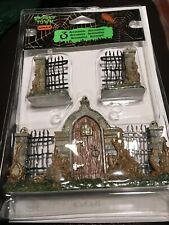 Lemax Wrought Iron Fence Bramble Gate Spooky Town Village/Train -3 Piece Set