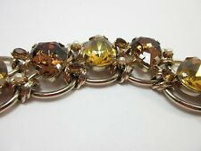 Rhinestone Bracelet Chunky Statement Topaz Yellow Gold Link Chain Large 9188