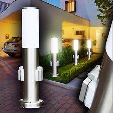 Edelstahl Sockelleuchte mit Steckdosen Gartenlampe Stehleuchte Wegelampe Aussen