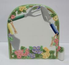 Ceramic Message Board Gardener Gift Summer Shovel Spade Flowers with Pen Holder
