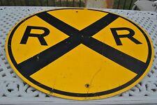 VINTAGE 3 FEET AROUND HEAVY GAUGE STEEL  RAILROAD CROSSING SIGN
