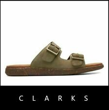 Clarks Men Vine Cedar Slide Suede Sandals Size 11.5 NEW