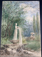 Antique Watercolor European Garden Fountain Impressionist Painting Signed GFP