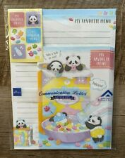 KAWAII DAISO JAPAN LETTER SET PANDA STATIONERY PASTEL  *CUTE PANDAS & CEREAL!*