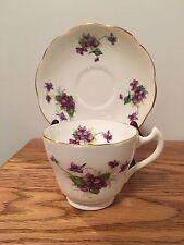 Longton England Violets Tea Cup & Saucer