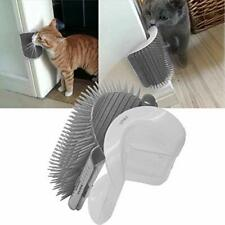 Pet Self Groomer Brush Wall Corner Cat Grooming Massage Comb Toy Catnip Gray