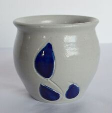 Williamsburg VA Pottery Bowl Salt Glazed Gray Leaf Trinket Pin Dish Vase Planter