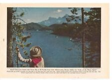 1947 Lake Minnewanka Vintage Magazine Page Photo Nice