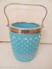 27031 Pressglas Pressed glass Blau Blue Schale bowl Eisbehälter Opalin opak