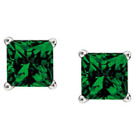 2Ct Emerald Stud Earrings Princess Solitaire Earrings 14K White Gold Over