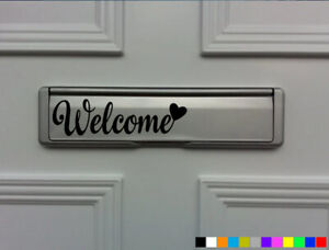 WELCOME DOOR LETTER BOX VINYL FRONT DOOR DECALS STICKERS