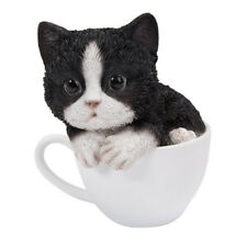 "Black & White Kitten Teacup Cat Collectible Figurine Miniature 5.5""H New"