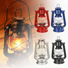 10'' Retro Oil Lantern Garden Outdoor Camp Kerosene Paraffin Hurricane Lamp Blue