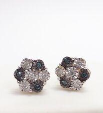 10k Yellow Gold ~ Blue & White Diamond Ladies Cluster Flower Stud Earrings